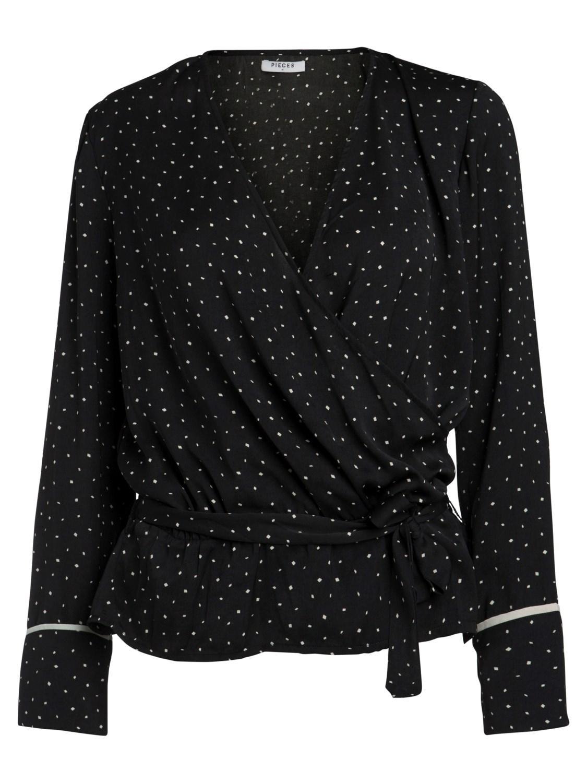 Blusa cruzada blanco y negro